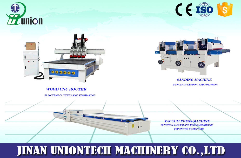 Production line for laminating doors